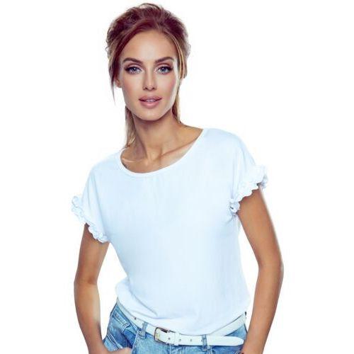 Marika bluzka damska z krótkim rękawem romantica top biała - biały marki Eldar