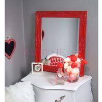 Lustro, rama drewniana, kolor czerwony. marki Design by impresje24