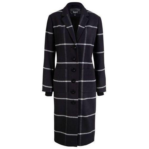 Dług płaszcz w kratę, ze ściągaczem w prążek bonprix czarno-biały w kratę, wiskoza