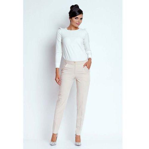 Beżowe Eleganckie Spodnie Cygaretki, kolor beżowy