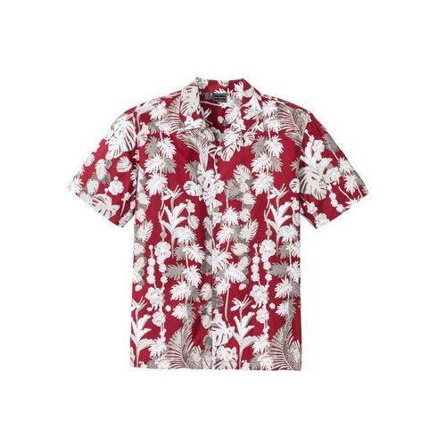 Koszula z krótkim rękawem w hawajski deseń, Regular Fit bonprix czerwony z nadrukiem, kolor czerwony