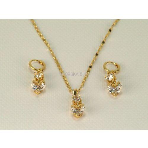 Komplet biżuterii z serduszkami z cyrkonii pozłacany - złoto 18-karatowe