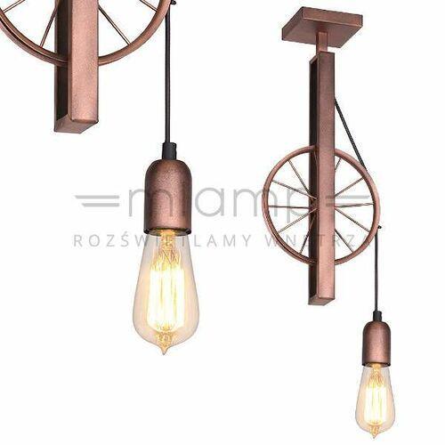 Lampa sufitowa adx 834g rustykalna oprawa metalowa koło rowerowe miedziane (Aldex)