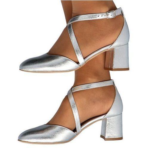 0663 srebrne - taneczne czółenka, ślubne - srebrny marki Kotyl
