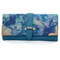 Niebieski portfel damski z kolorowym nadrukiem - niebieski || wielobarwny Kolorowe portfele (-25%)