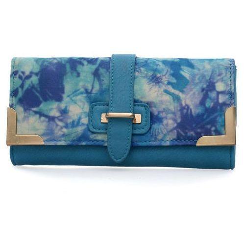 Wielka brytania Niebieski portfel damski z kolorowym nadrukiem - niebieski   kolorowy
