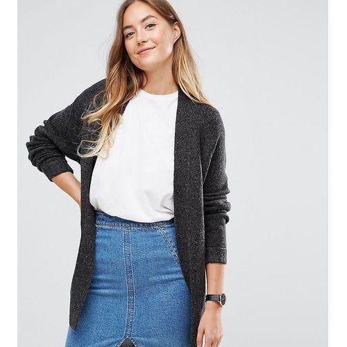 ASOS TALL Chunky Knit Cardigan In Wool Mix - Grey