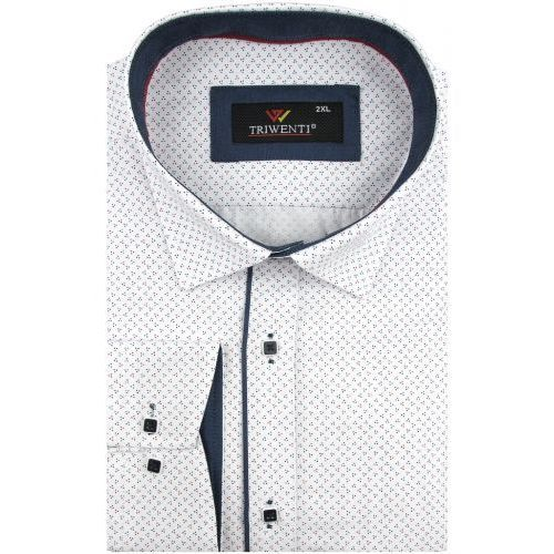 5df564aca Triwenti Duża koszula męska biała w kropki na długi rękaw duże rozmiary  a007 Triwenti