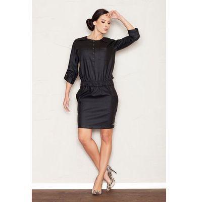 0502a3345f Czarna Sukienka Mini z Rękawem 3 4 w Stylu Casual