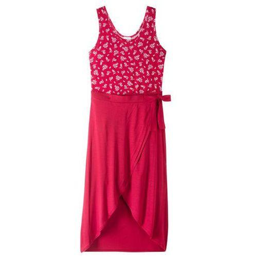 Letnia sukienka z długą spódnicą czerwony z nadrukiem marki Bonprix