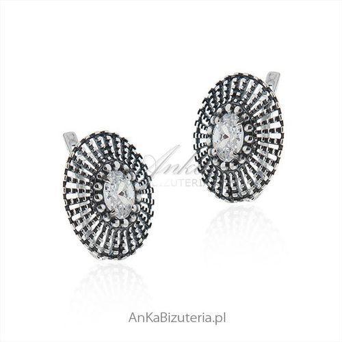 Kolczyki srebrne z cyrkonią - oksydowane ażurowe - foto produktu