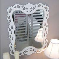 Design by impresje24 Lustro z serii romantic, drewniana, ażurowa rama, matowa biel.
