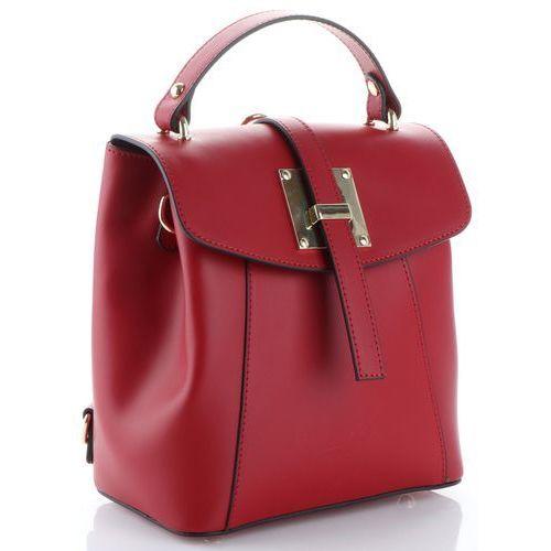 Eleganckie Włoskie Torebki Skórzane firmowe Plecaczki Damskie Vittoria Gotti Bordowe (kolory), kolor czerwony