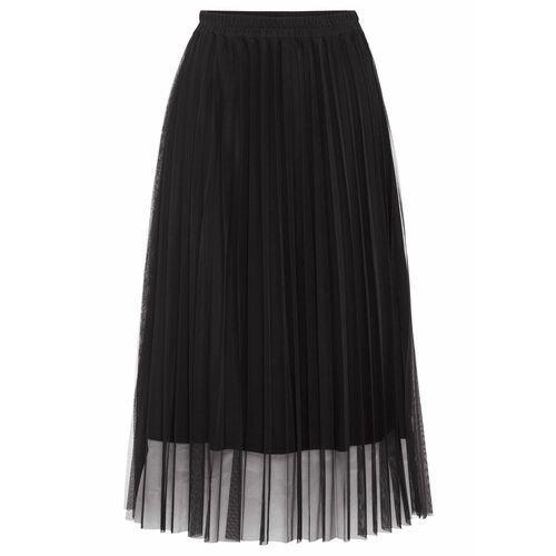 Bonprix Spódnica plisowana z siatkowego materiału czarny