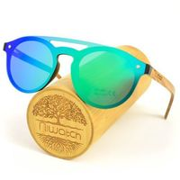 Drewniane okulary przeciwsłoneczne Niwatch Volans Green Mirror