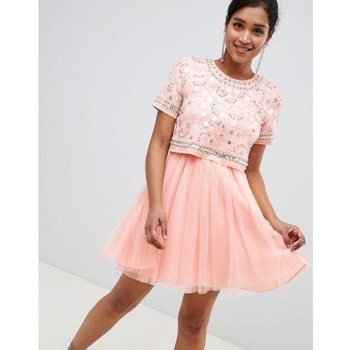 2ea19df6d65442 ASOS DESIGN embellished crop top tulle mini dress - Pink, kolor różowy -  Foto ASOS