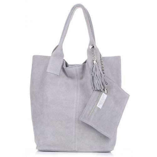 bc956153ff539 Genuine leather Torebka skórzana shopper bag zamsz naturalny jasno szara  (kolory) - Zdjęcie