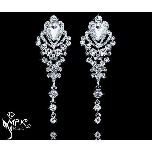 Kol 656/4 kolczyki ślubne, cyrkonie długie marki Mak-biżuteria