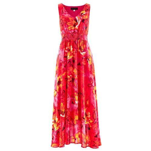 4616d33068 Sukienka szyfonowa bonprix ciemnoróżowy z nadrukiem