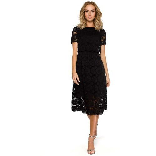 2f962668086 Czarna Koronkowa Rozkloszowana Midi Sukienka z Krótkim Rękawem, kolor czarny