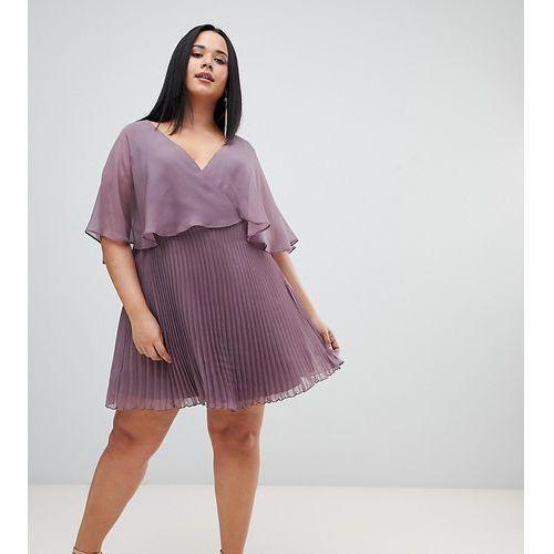 ac30d476574 Zobacz ofertę ASOS DESIGN Curve flutter sleeve mini dress with pleat skirt  - Multi