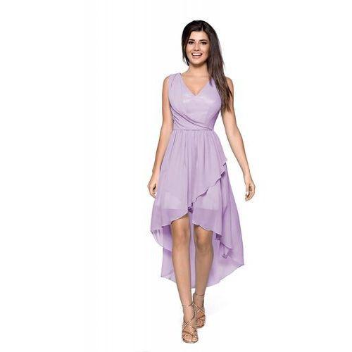 c3e9c480d8 Fioletowa zwiewna asymetryczna sukienka z dekoltem v (Kartes Moda ...