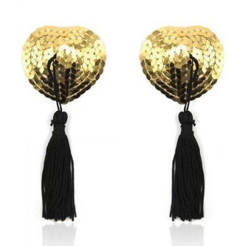 Toyz4lovers Heart shine nipples tassels (gold)- nasutniki