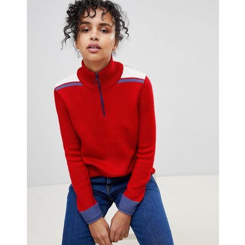 Pepe Jeans Claudia Sporty Colourblock Wool Blend Knit Jumper with Circle Puller - Red, wełna