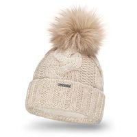 Zimowa czapka damska gruby warkocz PaMaMi - Beżowy - Beżowy