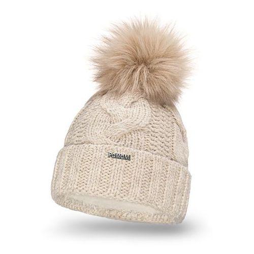 Zimowa czapka damska - beżowy - beżowy marki Pamami