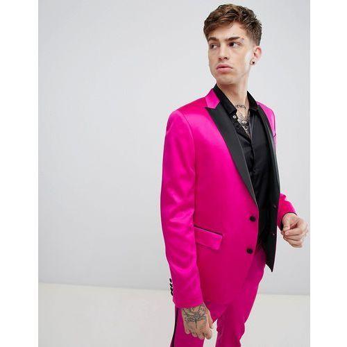 dd1cfcba68ec3 Skinny tuxedo suit jacket in high shine pink - pink (ASOS DESIGN ...