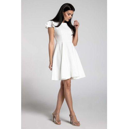 c69fb289f4 Zobacz ofertę Ecru Rozkloszowana Sukienka z Rękawkiem Typu Motylek. Nommo
