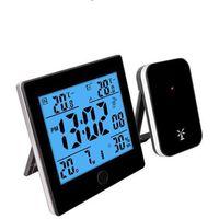 Podświetlana stacja pogody rcc, kalendarz, zegar - czarny marki Biowin