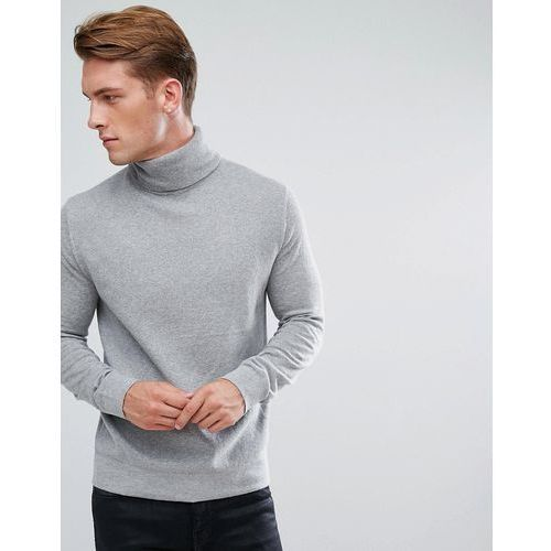 French Connection Roll Neck Jumper In Wool - Grey, kolor szary