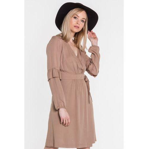 558fa9f1a Beżowa sukienka kopertowa z falbankami (Mũso) opinie + recenzje ...