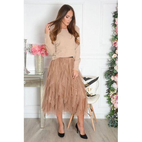 Tiulowa spódnica camel, kolor brązowy