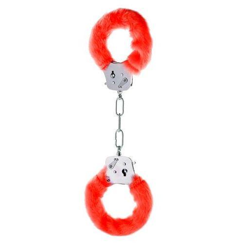 Toy joy Solidne metalowe kajdanki czerwony plusz i kluczyki (8713221063397)