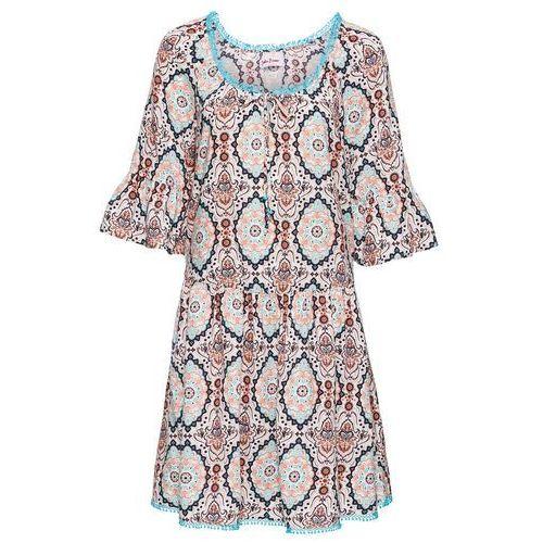 """Sukienka z dekoltem """"carmen"""" i nadrukiem, krótki rękaw biało-turkusowy Bonprix"""