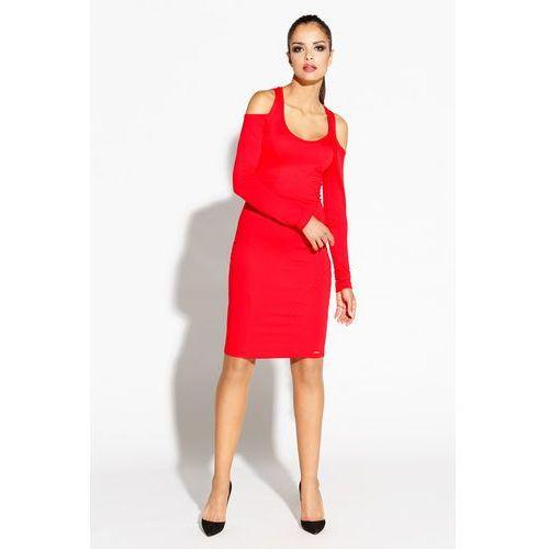 7dde23241a Zobacz ofertę Czerwona Ołówkowa Sukienka z Wyciętymi Ramionami