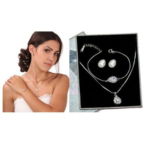 Kpl865 komplet ślubny, biżuteria ślubna z cyrkoniami b599/811 n599/814 k686/16 marki Mak-biżuteria