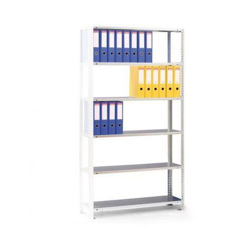 Regał na segregatory compact, szary, 6 półek, 1850x1000x300 mm, dodatkowy marki Meta