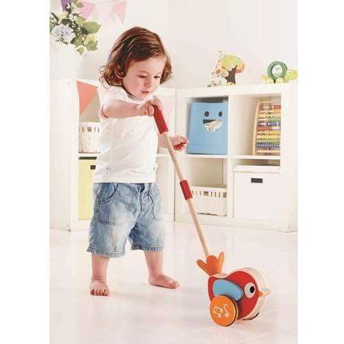 Hape Zabawki do pchania dla dzieci- pchajka muzyczny ptaszek