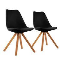 onassis fotel w stylu retro siedzisko tapicerka drewno brzozowe czarny, 2 sztuki marki Oneconcept