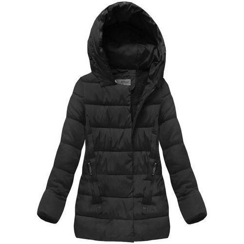 Pikowana kurtka z kapturem czarna (b3572) - czarny marki S'west