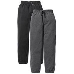 Spodnie dresowe (2 pary) bonprix czarny + antracytowy melanż