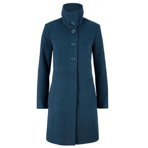 Krótki płaszcz z materiału w optyce wełny bonprix ciemnoniebieski, w 9 rozmiarach