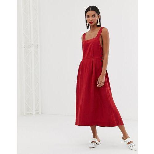 Mango linen midi dress in red - Red, w 4 rozmiarach