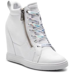 Sneakersy - iridescent dress sneaker fw0fw03921 white 100 marki Tommy hilfiger