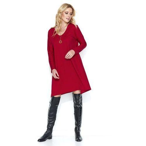 c6241a9729 Czerwona Luźna Sukienka Dzianinowa z Dekoltem w Serek