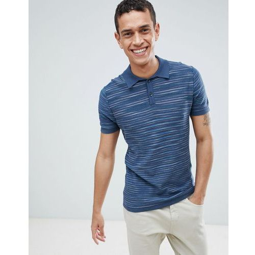 United Colors Of Benetton Knitted Polo In Marl Stripe - Navy